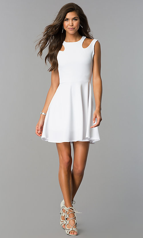Image of short a-line sleeveless party dress with cut outs. Style: CH-2915 Detail Image 1