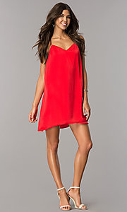 Image of short v-neck satin shift party dress with racerback. Style: AS-i752378q1 Detail Image 3