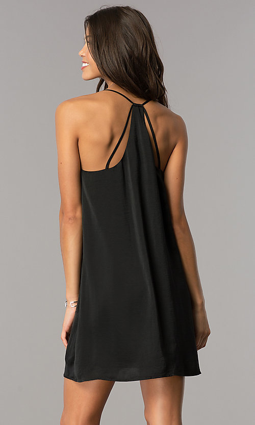 Image of short v-neck satin shift party dress with racerback. Style: AS-i752378q1 Back Image