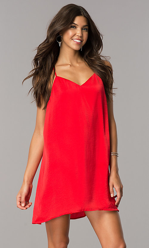 Image of short v-neck satin shift party dress with racerback. Style: AS-i752378q1 Detail Image 2