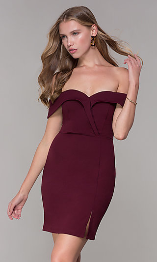 Wine Red Off-Shoulder-Collar Homecoming Dress