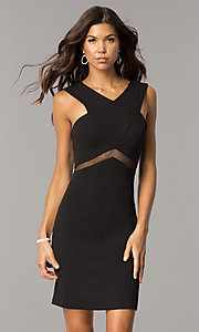 Image of short v-neck homecoming party dress with sheer waist. Style: FA-S8078 Front Image