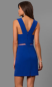 Image of short v-neck homecoming party dress with sheer waist. Style: FA-S8078 Back Image