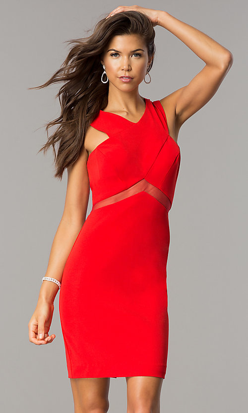 Image of short v-neck homecoming party dress with sheer waist. Style: FA-S8078 Detail Image 1