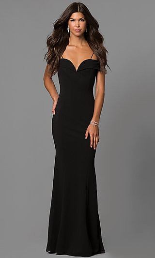 Long Off-the-Shoulder Evening Dress with Straps