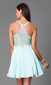 Image of mint chiffon party dress with jeweled lace bodice. Style: DQ-8997m Back Image