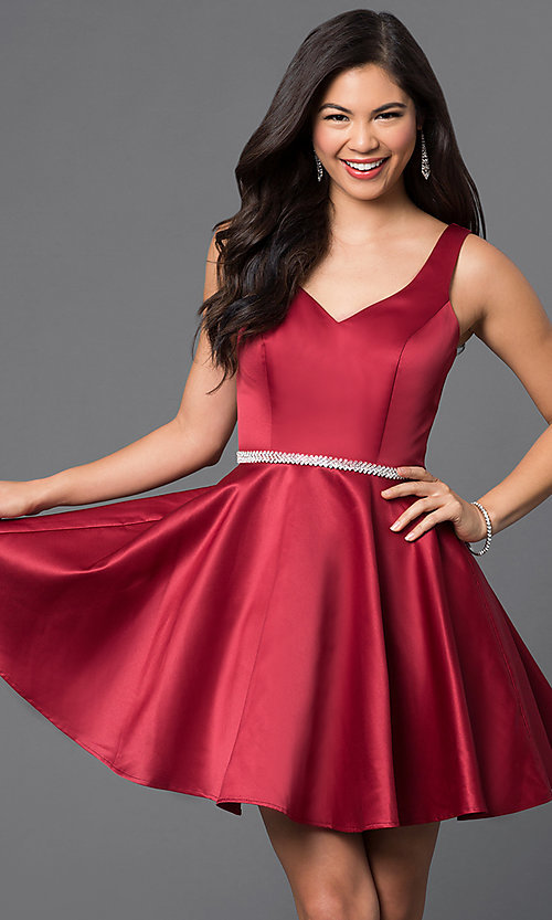 Image of short homecoming party dress with jeweled waist. Style: DQ-9504c Detail Image 2