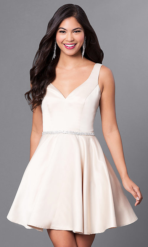 Image of short homecoming party dress with jeweled waist. Style: DQ-9504c Detail Image 1