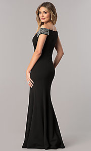 Image of long off-the-shoulder mother-of-the-bride dress. Style: AX-160116 Back Image