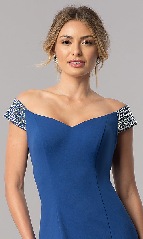 Image of long off-the-shoulder mother-of-the-bride dress. Style: AX-160116 Detail Image 3