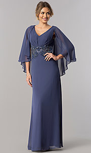 Image of beaded-waist long wedding-guest dress with cape. Style: AX-170905 Front Image