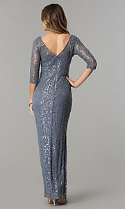 Image of sequined-lace long silver formal dress with sleeves. Style: AX-1121703 Back Image