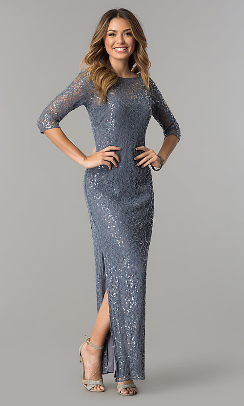 Image of sequined-lace long silver formal dress with sleeves. Style: AX-1121703 Front Image