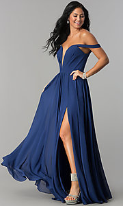 Image of off-the-shoulder chiffon formal long evening dress. Style: FA-8088 Detail Image 1
