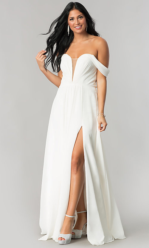 Image of off-the-shoulder chiffon formal long evening dress. Style: FA-8088 Front Image
