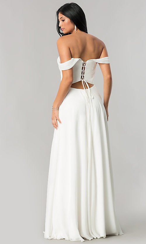 Image of off-the-shoulder chiffon formal long evening dress. Style: FA-8088 Back Image