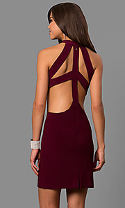 Image of short high-neck cut-out-back homecoming party dress. Style: FA-S8057 Back Image