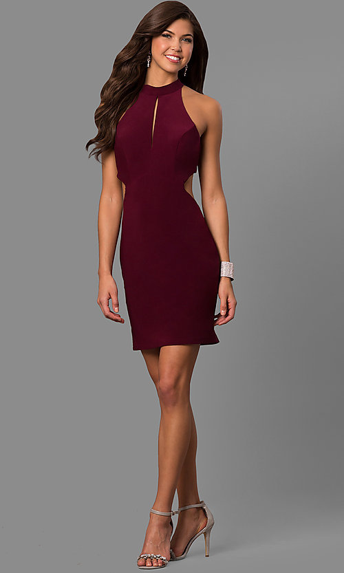 Image of short high-neck cut-out-back homecoming party dress. Style: FA-S8057 Detail Image 1