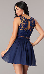Image of mock-two-piece homecoming dress with lace bodice. Style: LP-23846 Back Image