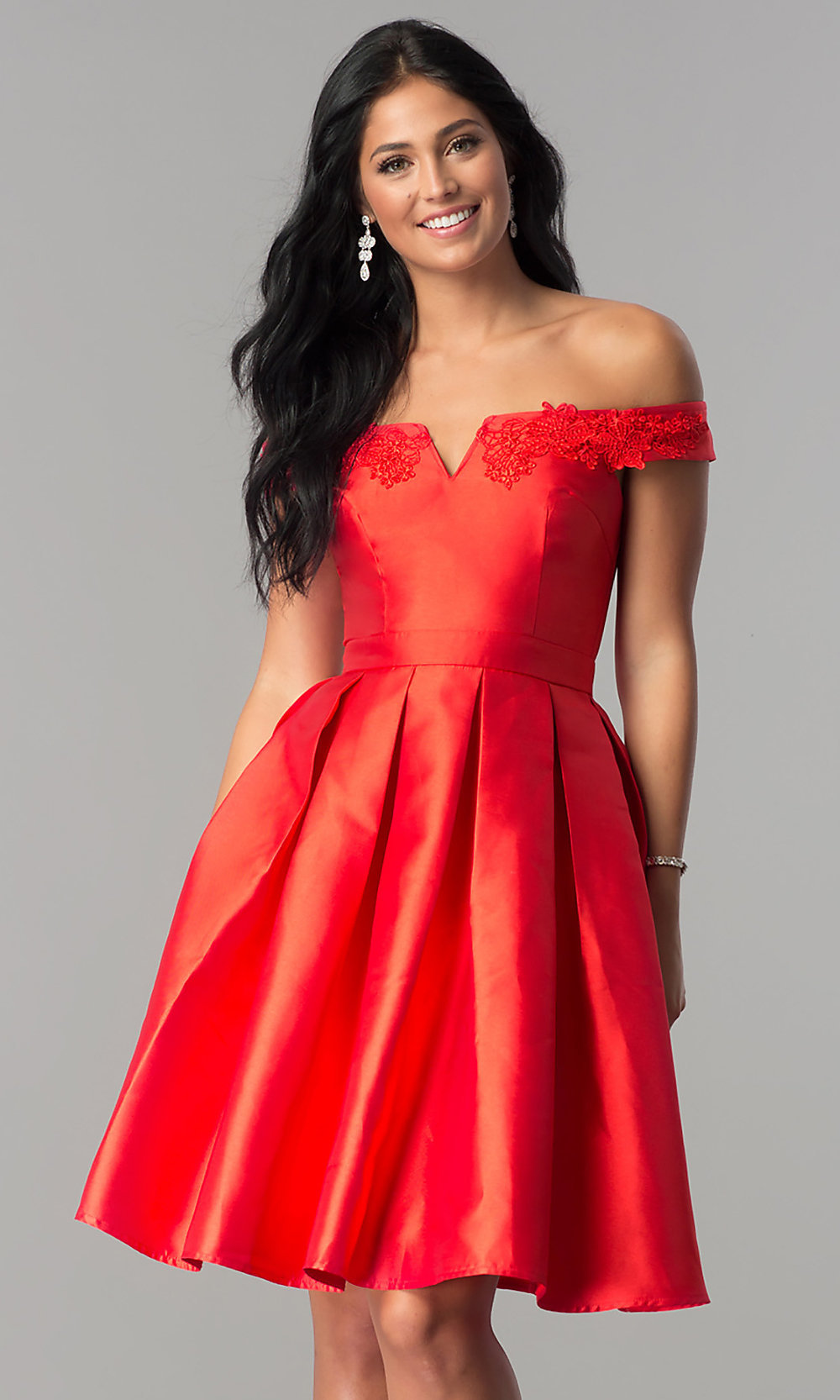 cheaper sale bright in luster new varieties Lace-Edge Notched Off-the-Shoulder Homecoming Dress