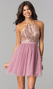 Image of sequin-bodice short tulle homecoming dress. Style: LP-24756 Detail Image 1