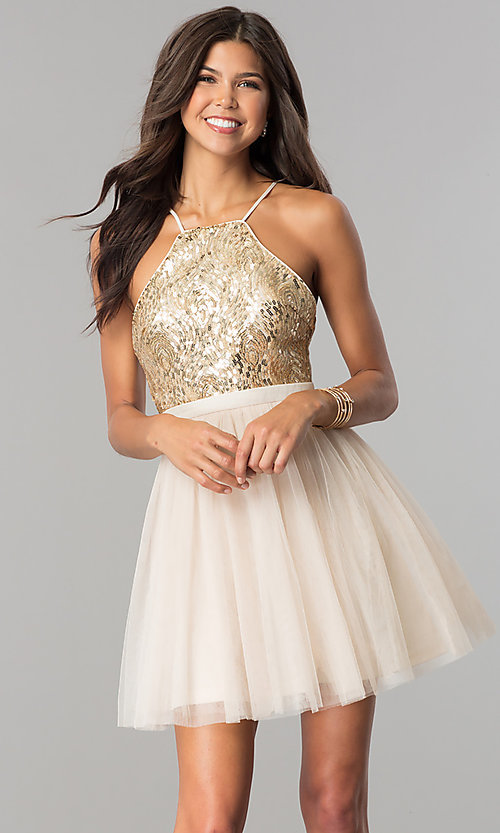 Image of sequin-bodice short tulle homecoming dress. Style: LP-24756 Front Image