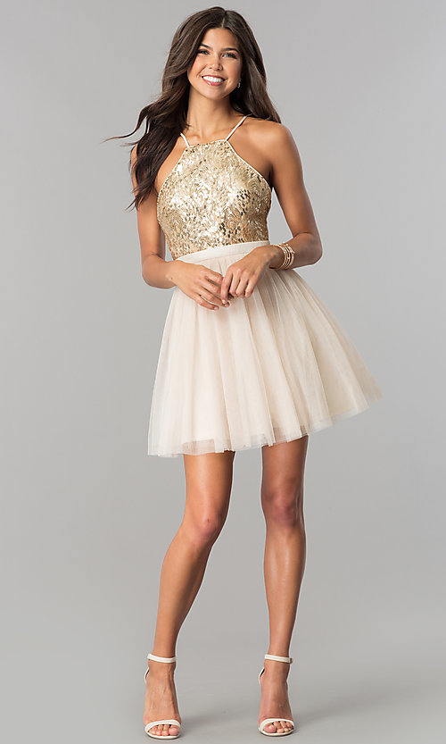 Image of sequin-bodice short tulle homecoming dress. Style: LP-24756 Detail Image 3