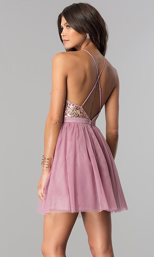 Image of sequin-bodice short tulle homecoming dress. Style: LP-24756 Back Image