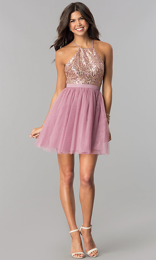 Image of sequin-bodice short tulle homecoming dress. Style: LP-24756 Detail Image 2