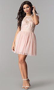Image of short tulle high-neck illusion homecoming dress. Style: LP-24066 Detail Image 1