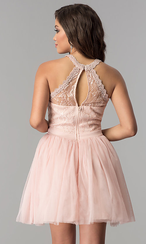 Image of short tulle high-neck illusion homecoming dress. Style: LP-24066 Front Image