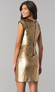 Image of black and gold sequin homecoming dress with sleeves. Style: LP-24257 Back Image