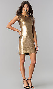 Image of black and gold sequin homecoming dress with sleeves. Style: LP-24257 Detail Image 3