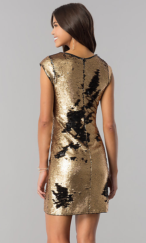 Image of black and gold sequin homecoming dress with sleeves. Style: LP-24257 Detail Image 1