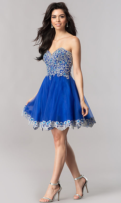 Image of strapless short royal blue homecoming party dress. Style: FB-GS2380 Detail Image 1