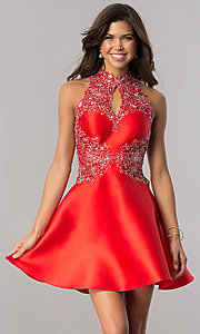 Image of racerback red satin homecoming dress with appliques. Style: FB-GS2390 Front Image