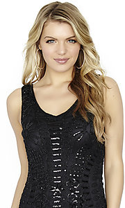 Image of sleeveless Jolene black sequin homecoming dress. Style: JOJ-JE-17583 Detail Image 1