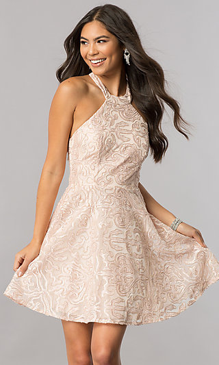 Mock-Halter Short Homecoming Dress with Embroidery