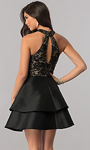 Image of short satin homecoming dress with sequined bodice. Style: MCR-2426 Back Image