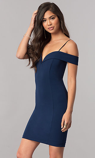 Short Off-the-Shoulder Homecoming Dress with Straps