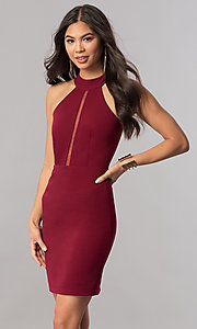 Image of short high-neck homecoming dress with racerback. Style: MCR-1452 Detail Image 2