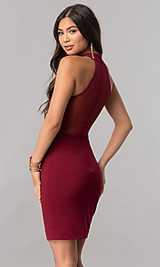 Image of short high-neck homecoming dress with racerback. Style: MCR-1452 Detail Image 3