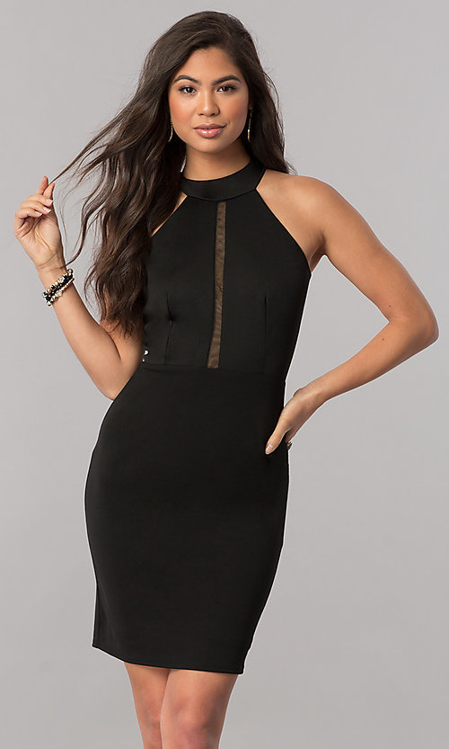 Image of short high-neck homecoming dress with racerback. Style: MCR-1452 Front Image