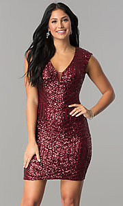 Image of short burgundy red sequin v-neck homecoming dress. Style: FLA-74097 Back Image
