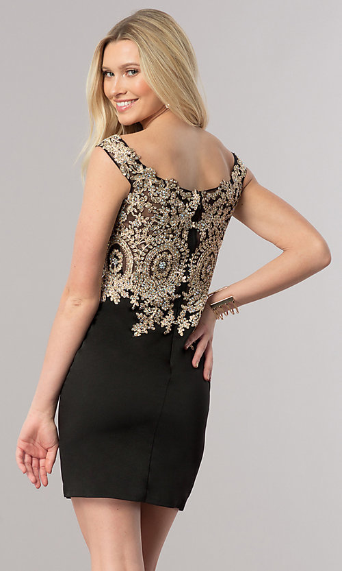 Image of short off-shoulder homecoming dress with applique. Style: DQ-2001 Back Image