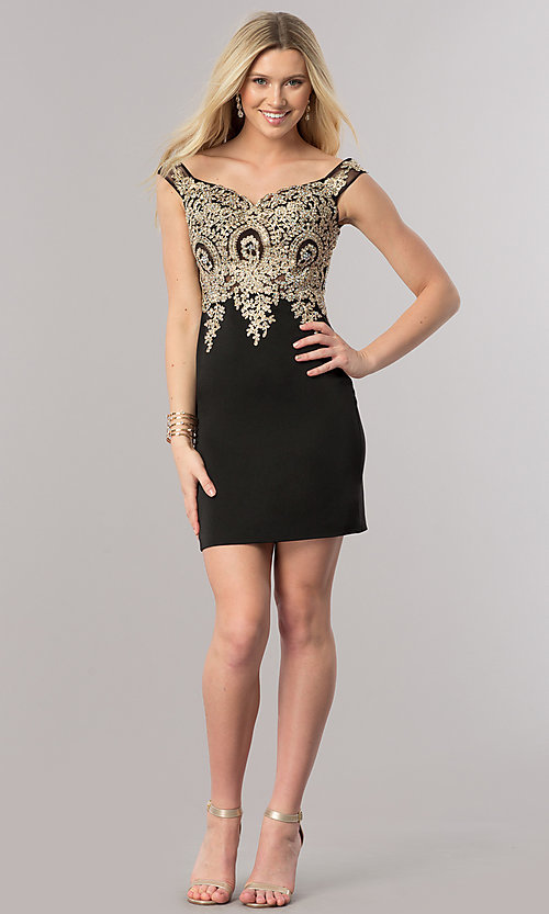 Image of short off-shoulder homecoming dress with applique. Style: DQ-2001 Detail Image 2