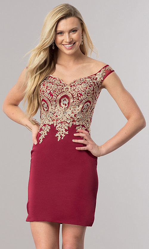 Image of short off-shoulder homecoming dress with applique. Style: DQ-2001 Detail Image 3