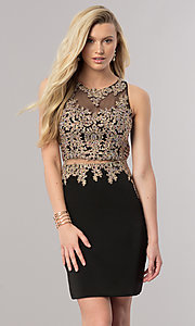 Image of mock two-piece short homecoming dress with sheer waist. Style: DQ-2000 Front Image