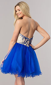 Image of short strapless babydoll-style party dress. Style: DQ-2005 Back Image