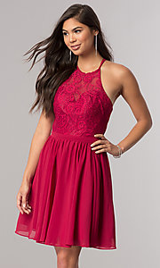 Image of short chiffon homecoming dress with illusion bodice. Style: DQ-2010 Front Image